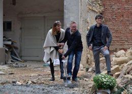 Daniela Haslberger (Inhaberin der Villa Weiss), Stefan Pöhlmann (Bürgermeister der Stadt Helmbrechts) und Bernd Hüttner (Architekt)